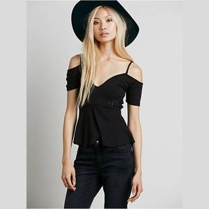 Free People In Love Peplum Top - Black
